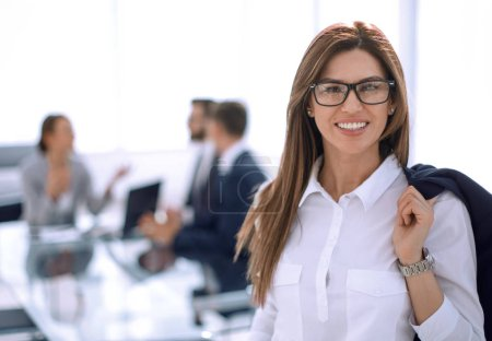 modern business woman on the background of the office