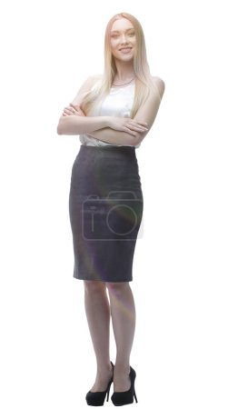 Photo for Young business woman. full-length portrait. photo with copy space - Royalty Free Image