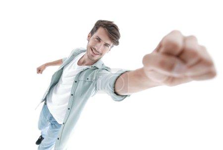 Photo pour Voler, homme, devant, vue., souriant, gars, est, surhomme, pose., isolé, sur, blanc, fond . - image libre de droit