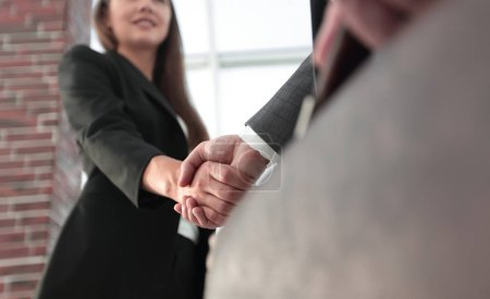 Photo for Successful business people handshaking after perfect deal. - Royalty Free Image