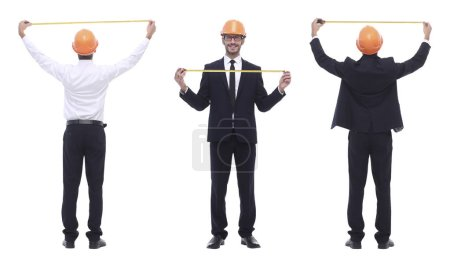 Photo for In full growth .qualified engineer architect isolated on white . photo collage - Royalty Free Image