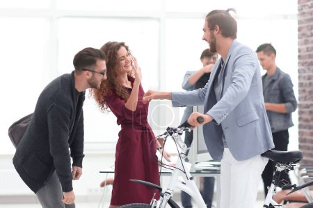 Photo for Young people buying a new bike .photo with copy space - Royalty Free Image