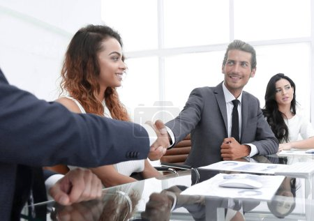 Photo for Business people shaking hands, starting a meeting.concept of partnership - Royalty Free Image