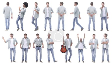Photo for Collage of photos of a modern handsome guy.isolated on white background. - Royalty Free Image