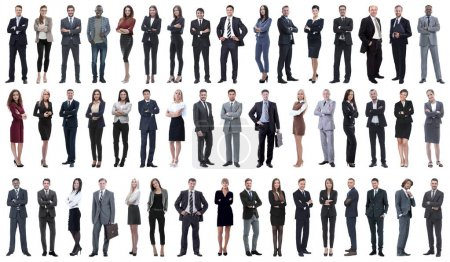 Photo for Collage of a variety of business people standing in a row. isolated on white background . - Royalty Free Image