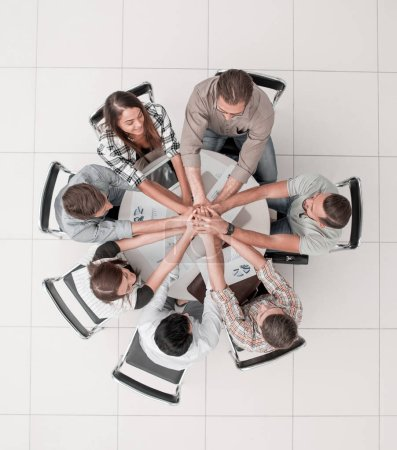 Photo for Top view.business team starting a new commercial project. start-up - Royalty Free Image