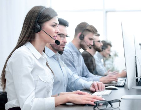 Photo for Background image of the call center employee in the workplace - Royalty Free Image