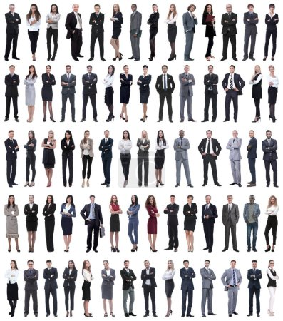 Photo pour Collage de jeunes gens d'affaires debout dans une rangée. isolé sur fond blanc . - image libre de droit