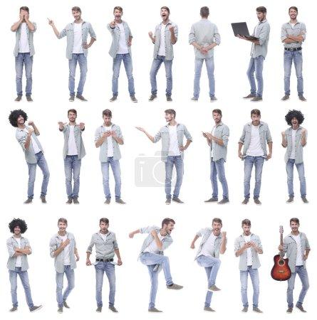 Photo pour Collage de portraits de gars joyeux moderne.isolé sur fond blanc . - image libre de droit