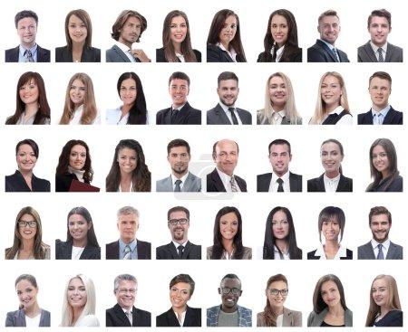 collage de retratos de empleados exitosos aislados en blanco