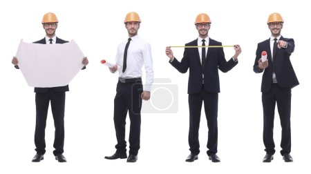Photo for In full growth .competent engineer architect isolated on white . photo collage - Royalty Free Image