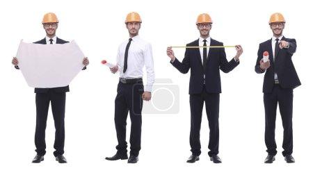 Photo pour En pleine croissance.architecte ingénieur compétent isolé sur blanc. collage photo - image libre de droit