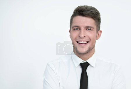 Photo for Portrait of confident man in formalwear looking at camera and smiling. while keeping arms crossed and standing against. - Royalty Free Image