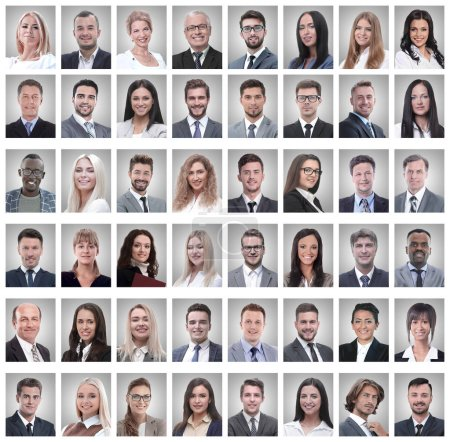 Photo for Portraits of a group of successful employees isolated on white . photo collage - Royalty Free Image