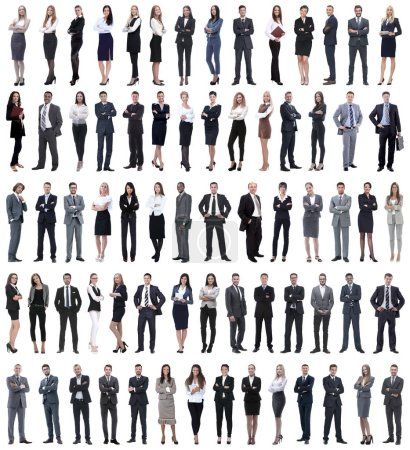 Photo for Collage of young business people standing in a row. isolated on white background . - Royalty Free Image