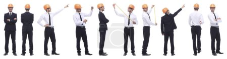 Photo for Panoramic photo collage of confident architect isolated on white background - Royalty Free Image