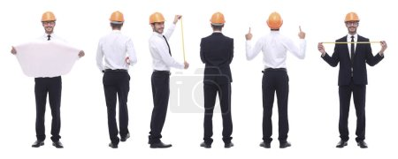 Photo for Panoramic photo collage of architect engineer isolated on white background - Royalty Free Image