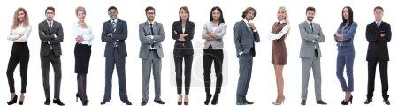Photo pour Groupe de gens d'affaires prospères isolés sur fond blanc - image libre de droit