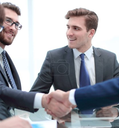 Photo for Handshake business colleagues in office - Royalty Free Image
