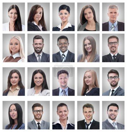 Photo pour Collage de portraits de jeunes entrepreneurs prospères isolés sur fond blanc - image libre de droit