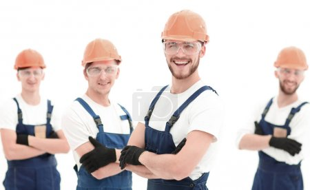Photo for Smiling team of construction workers .photo with copy space - Royalty Free Image