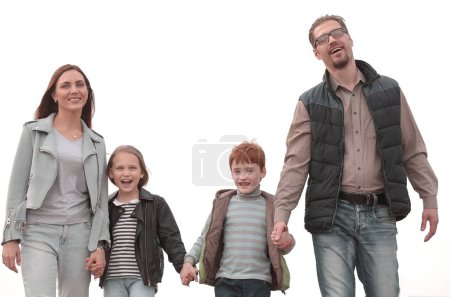 Photo for Happy parents with their children holding each others hands photo with copy space - Royalty Free Image