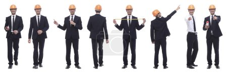 Photo for Panoramic photo collage of architect expert isolated on white background - Royalty Free Image