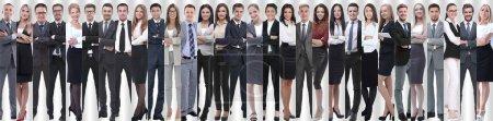 Foto de Collage panorámico de grupos de empleados exitosos. el concepto de trabajo en equipo - Imagen libre de derechos