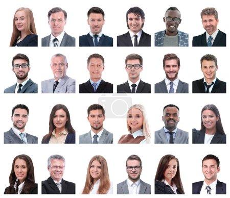 Photo pour Collage des portraits de gens d'affaires isolés sur fond blanc - image libre de droit