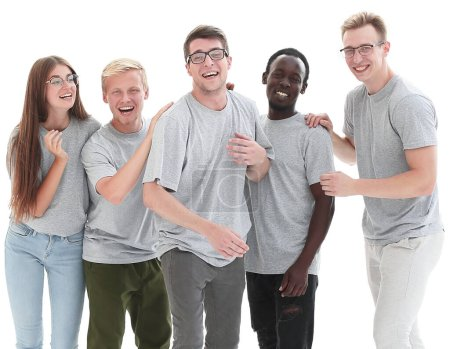 Photo for In full growth. group of diverse young people in identical t-shirts. isolated on white background - Royalty Free Image