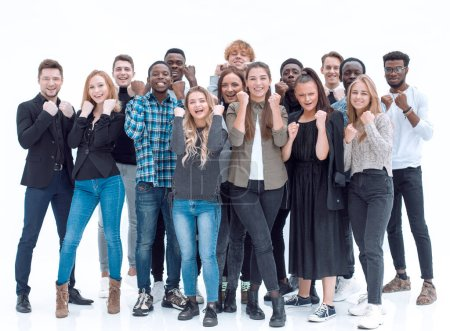 Photo for Full length . a group of happy young people standing together . isolated on a white - Royalty Free Image