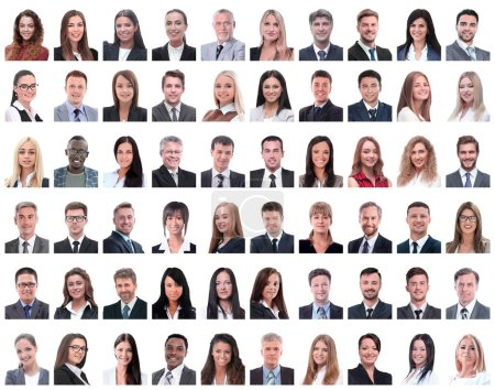 Photo for Collage of portraits of successful employees isolated on white background - Royalty Free Image