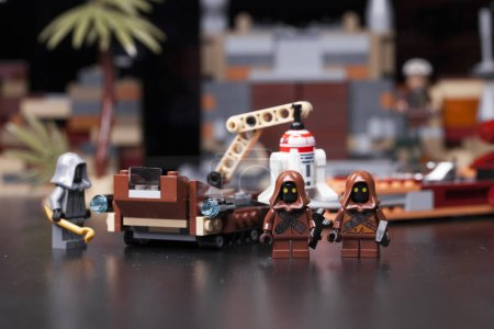 Photo for RUSSIA, May 16, 2018. Constructor Lego Star Wars. Episode IV, Java on the Tatooine - collectors of garbage and droids - Royalty Free Image