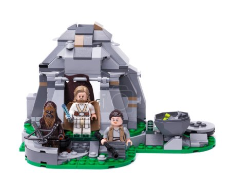 RUSSIA, May 16, 2018. Constructor Lego Star Wars. Mini-figures of the characters Jedi Luke Skywalker, Chewbacca and Ray