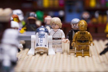 RUSSIA, April 12, 2018. Constructor Lego Star Wars. Episode IV, Luke Skywalker and Obi-Wan Kenobi with droids