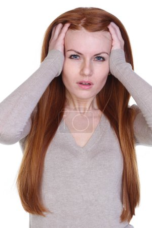 Portrait of an young woman with strong headache - over white background