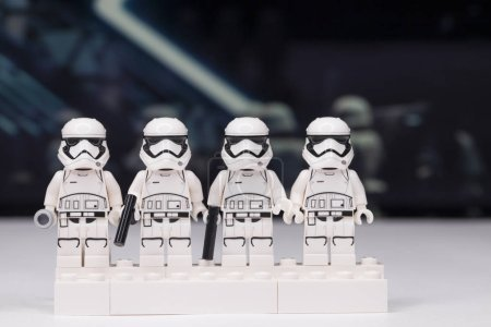 Photo for RUSSIA, May 16, 2018. Constructor Lego Star Wars. Mini-figures of soldiers of storm troopers from different episodes of the saga - Royalty Free Image