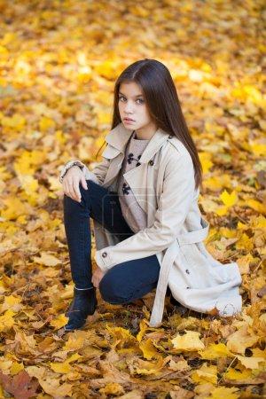 Photo pour Portrait d'une belle jeune fille brune, parc d'automne en plein air - image libre de droit