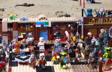 Photo for RUSSIAN, SAMARA - JANUARY 24, 2019. LEGO STAR WARS. Minifigures Bar Cantina Mos Eisley on Tatooine - Royalty Free Image