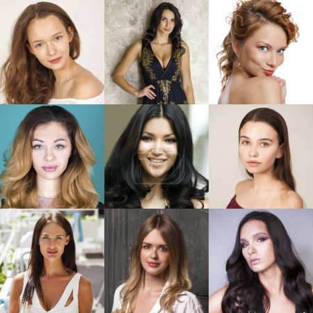 Photo for Collage of beautiful young women, a portrait of a close-up - Royalty Free Image