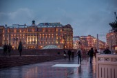 Snowy evening in Moscow. Manezhnaya Square