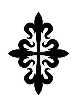 Illustration pour Croix fleurdelisee (croix des Lys), Croix héraldique médiévale . - image libre de droit