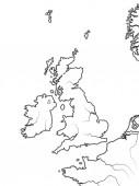 Map of The ENGLISH Lands: The Great Britain (The United Kingdom) -- England Scotland Wales And Ireland British Isles North Sea English Channel Geographic chart with sea coastline and islands