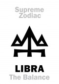 Astrology Alphabet: LIBRA (The Scales / The Balance) constellation Libra Sign of Supreme Zodiac (Internal circle) Hieroglyphic character (persian symbol)