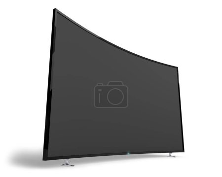 Photo for Big wide black TV set isolated on white background. 3D rendering of the huge curved video panel. - Royalty Free Image