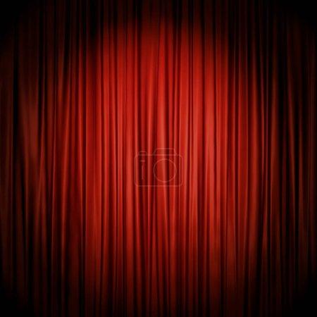 Photo pour Rideau de scène rouge illuminé par des projecteurs toile de fond. rendu 3D de la Loi de théâtre goutte chiffon rouge. - image libre de droit