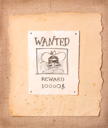 Wanted vintage illustration with bandit in black mask and hat