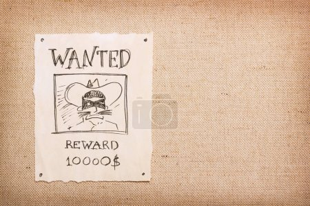 Wanted vintage illustration with bandit in mask