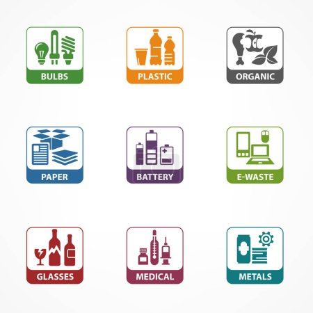 Garbage waste recycling square icons, line symbols...
