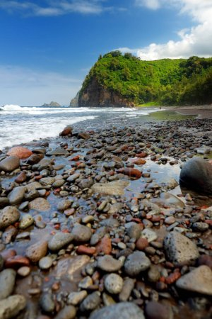 Scenic view of rocky beach of Pololu Valley on Big Island of Hawaii, USA